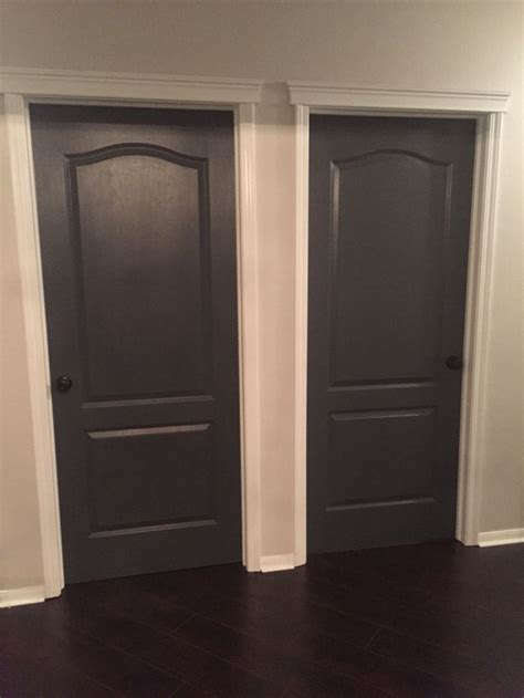 door accent colors for greenish gray best decision ever painting all our interior doors sherwin williams peppercorn and black