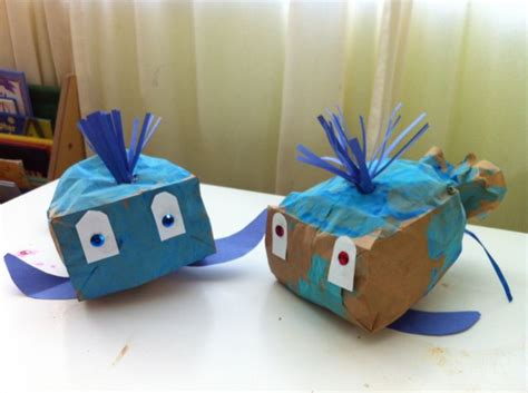 Paper Bag Whale Craft - stuffed paper bag whale craft sea ideas