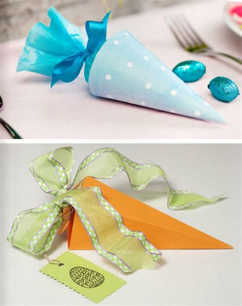 diy easter treat bags candy carrot shaped paper gift kids