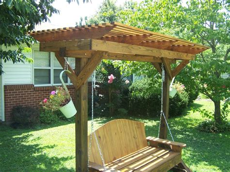 swing with pergola mobile pergola swing holder by greg lumberjocks com