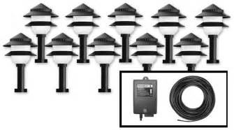 Landscape Lighting Kit Moonrays 95534 10 Fixture Low Voltage Plastic Lighting Kit Black Landscape Pathlights