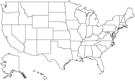 A Outline Of The United States by United States Outline Map