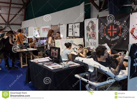 tattoo convention italy people at tattoo convention in milan italy editorial