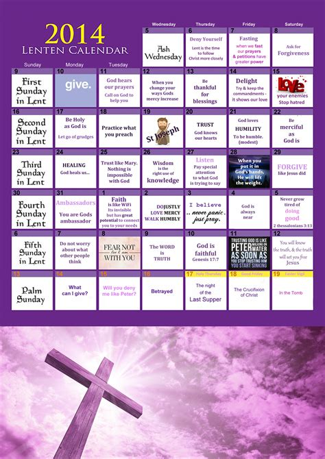 Lent Calendar Lenten Calendar 2014 Awestruck Tv