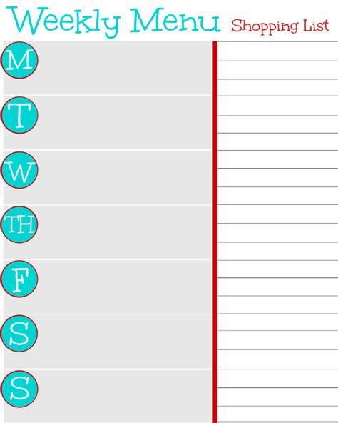 printable weekly menu and grocery list search results for printable weekly menu planner