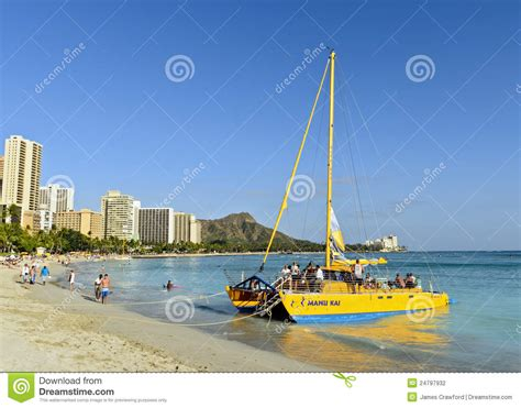 catamaran sailing waikiki beach catamaran in waikiki editorial photography image 24797932