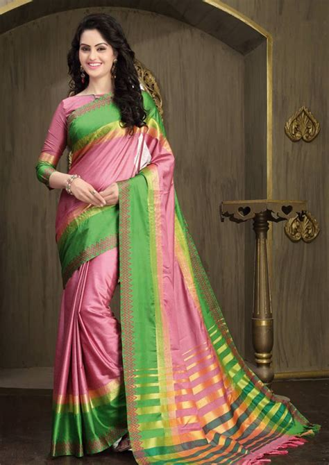 Combination Blouse Whitered 5008 buy baby pink and green printed cotton silk saree with