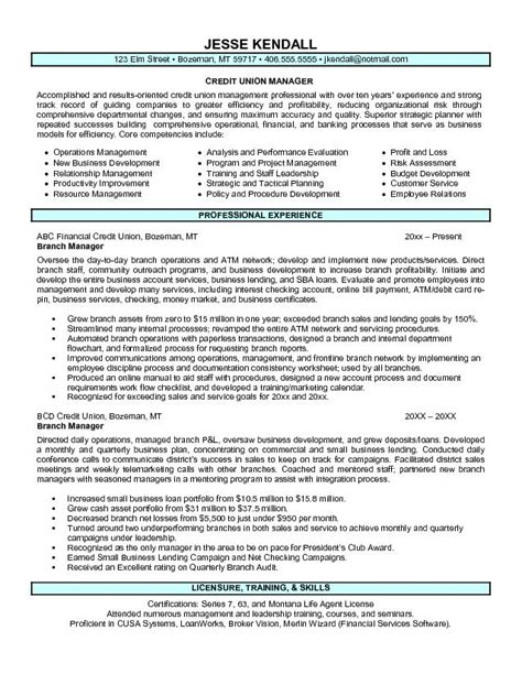 Resume Format Credit Manager Exle Credit Union Branch Manager Resume Free Sle