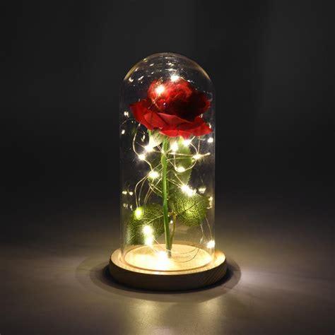 beauty   beast rose artificial flowers led light