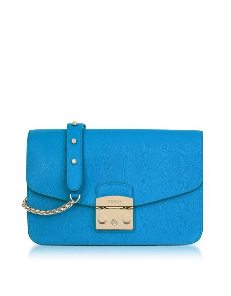 Murah Furla Metropolis Shoulder Denim furla cerulean blue metropolis small shoulder bag fashion style fan