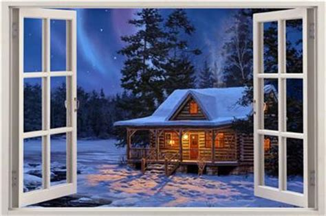 My Sticker Panorama Animal winter cabin 3d window view decal wall sticker decor