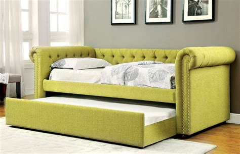 Upholstered Daybed With Trundle Lemongrass Upholstered Daybed W Trundle Caravana Furniture