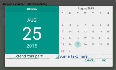 calendar layout stack overflow android datepicker layout customisation stack overflow