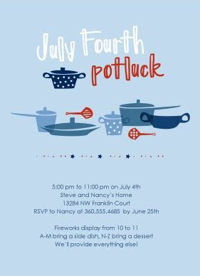 printable 4th of july potluck invitation template