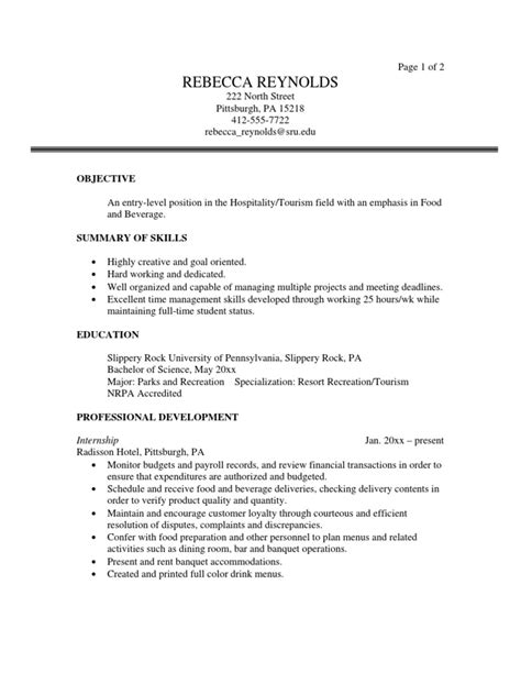 Resume Objective For Fresh Graduate Tourism Tourism Sle Resume