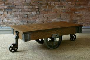 Furniture Cart Coffee Table Reclaimed Mill Cart Coffee Table Handcrafted By Indigo