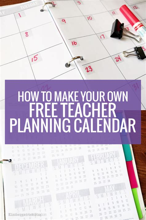 How To Make Your Own Free Teacher Planning Calendar Kindergartenworks Free Make Your Own Calendar Templates