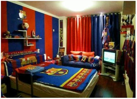 cool boys bedroom decoration with fc barcelona theme