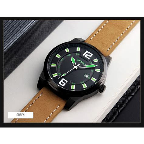 Skmei Jam Tangan Kulit Pria 1221 Original skmei jam tangan kulit pria 1221 black