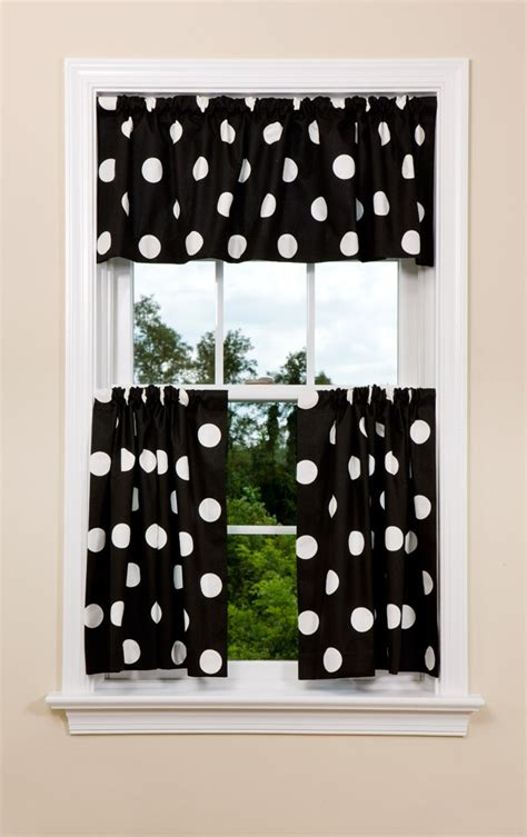 Black Kitchen Curtains And Valances Modern Dot Kitchen Curtain Panel