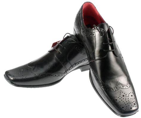 redtape mens skelton leather black brogue lace up square