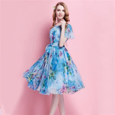 Muddy Floral Print Dresses by S Summer Floral Printed Chiffon Dress Boho