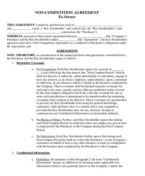 attorney  compete agreement template   word