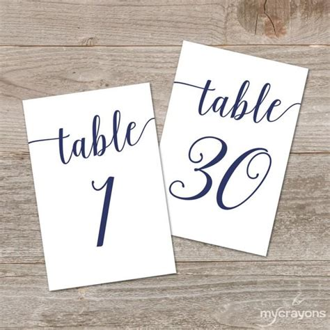 wedding table numbers printable free navy script table numbers script printable table