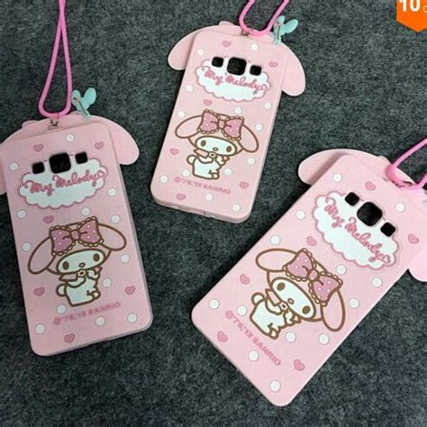 Silicone My Melody Pink Samsung A3 A5 2016 A8 Note4 Note5 Grand2 3d my melody rabbit with lanyard silicone bow cover for samsung galaxy note 5