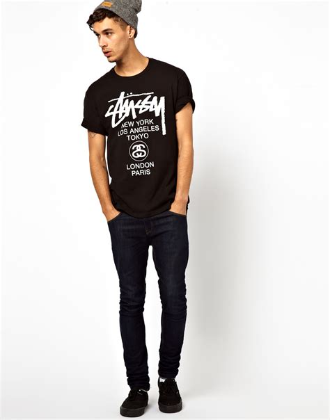 Tshirt Stussy 6 lyst stussy t shirt with world tour print in black for