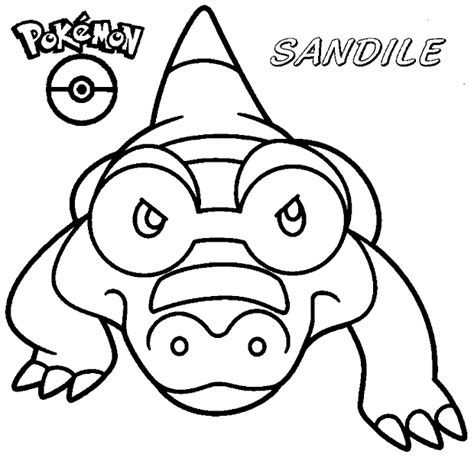 pokemon coloring pages sandile coloring books pokemon sandile to print and free download