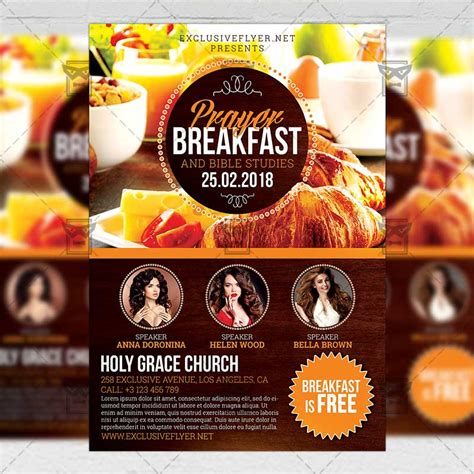Prayer Breakfast Church A5 Flyer Template Exclsiveflyer Free And Premium Psd Templates Breakfast Flyer Template