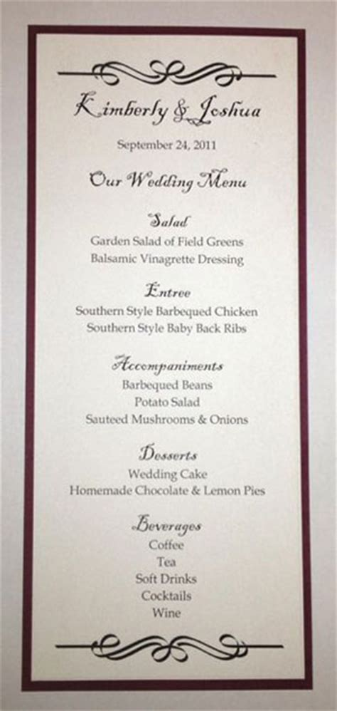 Wedding Menu Size Template Tea Size Wedding Menu Template 2