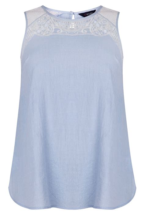 Pastel Blouse pastel blue sleeveless cotton blouse with embroidery cut