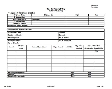 receipt template for goods sle of goods receipt