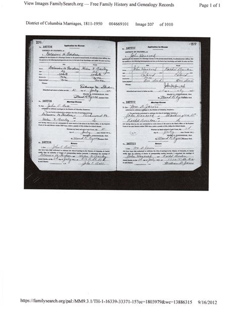 Washington Dc Marriage Records Burley Family Marriage Records