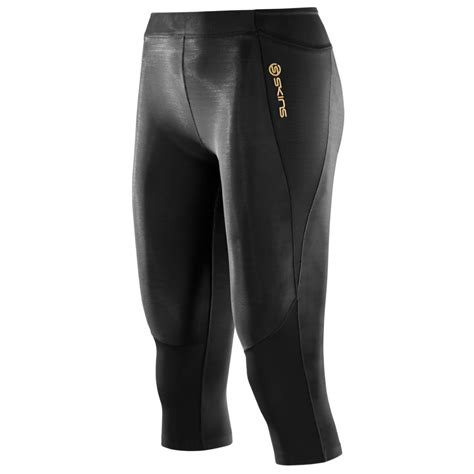 black and gold l wiggle skins a400 womens 3 4 tights black gold l