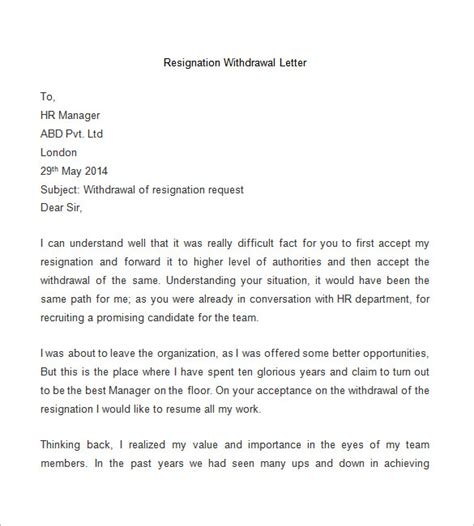 Withdrawal From A Letter How To Write Withdrawal Of Resignation Letter Resume Layout 2017