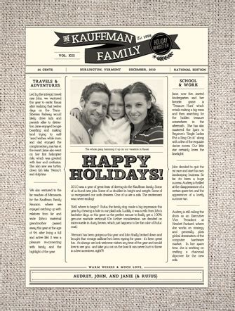 2010 Holiday Card Round Up Part 2 Family Newspaper Template