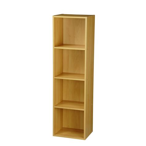 Wooden Bookshelf by 4 Tier Beech Wooden Display Bookshelf Bookcase Shelves