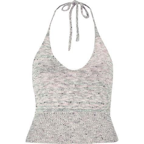 knitted halter top river island beige marl knitted halter neck crop top in