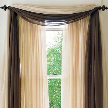 doorwall curtains american living cape sheer scarf valance jcpenney
