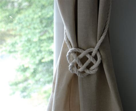 how to make curtain tie backs with rope cotton rope celtic heart curtain tie backs nautical style