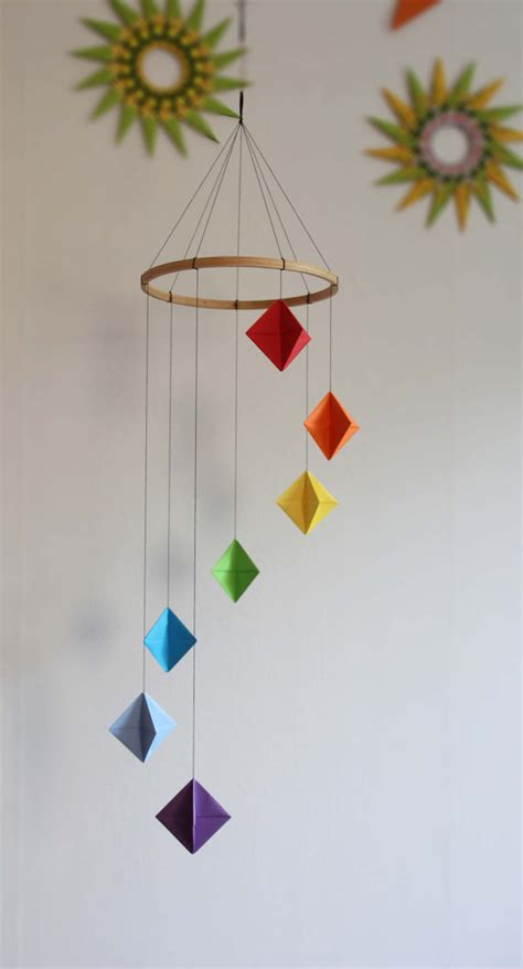 origami home decor rainbow colored origami diamond mobile origami diamond