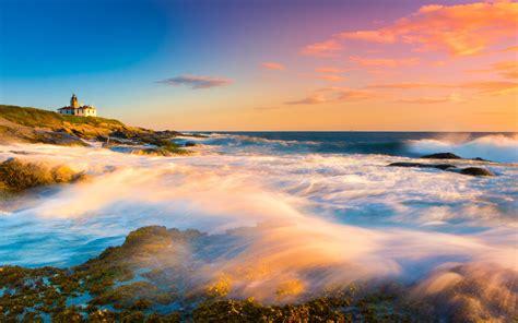 light green sunset mountains ocean landscapes nature