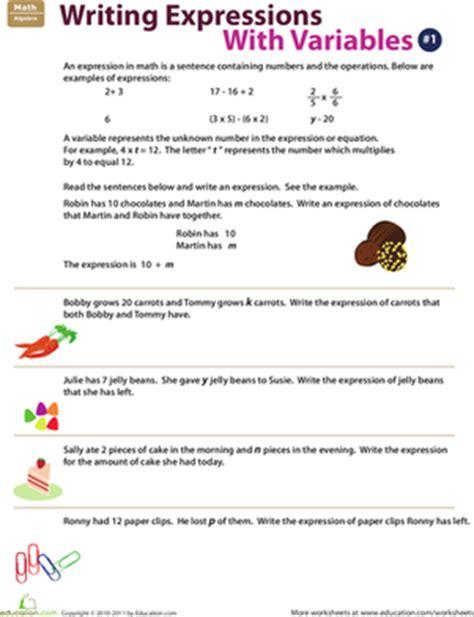 Writing Algebraic Expressions Worksheet by Writing Expressions With Variables 1 Worksheet