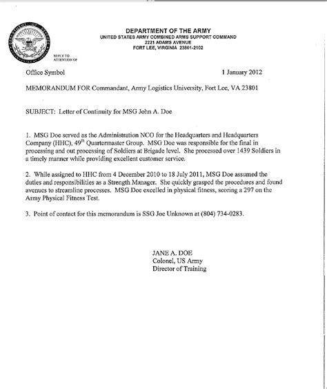 Army Letter Template