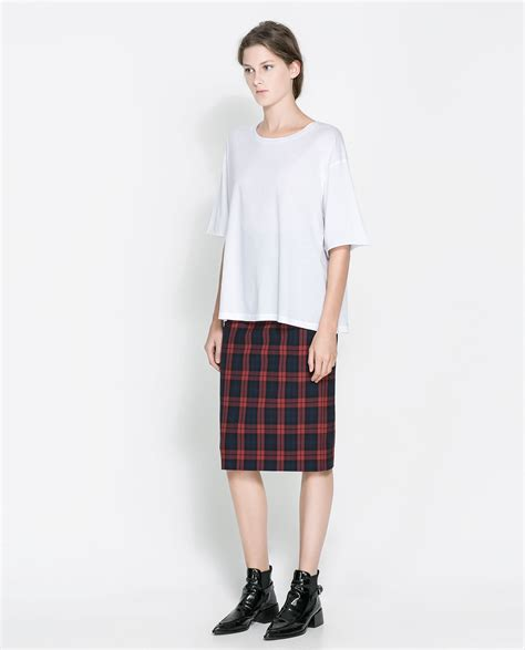 zara checked pencil skirt in lyst