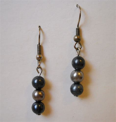 Unique Handmade Earrings - charcoal grey silver beaded earrings unique handmade