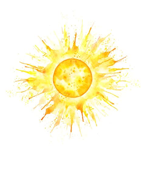 watercolor sun tattoo holliday illustration sun quot summer solstice